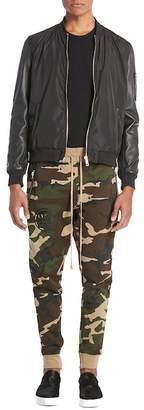 Hip & Bone Leather Sleeve Bomber Jacket