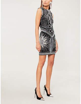 Balmain Crystal and bead-embellished velvet dress