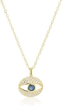 Gold Plated Sapphire and Cubic Zirconia Evil Eye Pendant Necklace