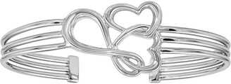 Sterling Double Heart & Infinity Cuff Bangle, 13.9g