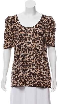 Gerard Darel Short Sleeve Leopard Print Shirt