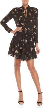 A.L.C. Black Campbell Floral Belted Dress