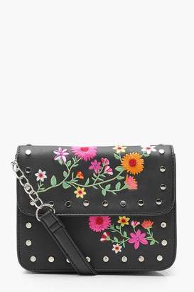 boohoo Lily Embroidery And Stud Cross Body