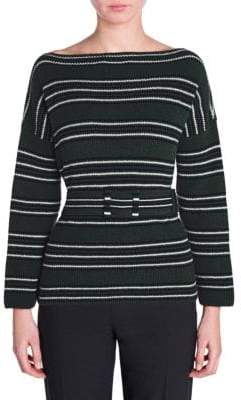 Fendi Cashmere Striped Knit Belted Sweater