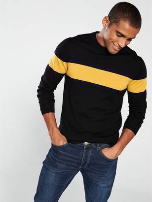 Merino Wool Knitted Pullover - Black