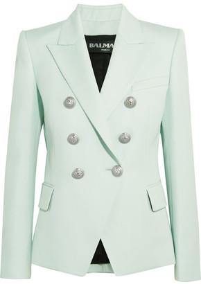 Balmain - Double-breasted Wool-twill Blazer - Sky blue $2,325 thestylecure.com