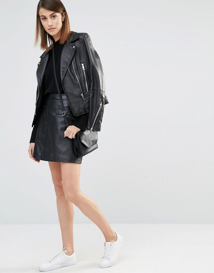 whistles a line leather mini skirt shopstyle co uk