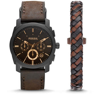 Fossil Machine Chronograph Dark Brown Leather Watch and Bracelet Box Set
