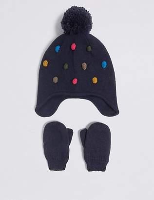 Marks and Spencer Kids' Pom-pom Trapper Hat & Mittens Set