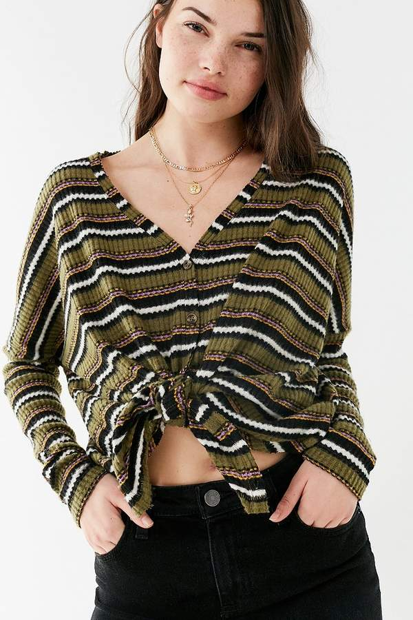 Out From Under Jojo Oversized Thermal Button-Front Top