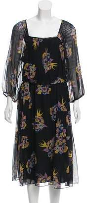 Tibi Floral Print Silk Dress