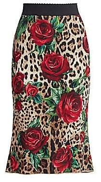 Dolce & Gabbana Dolce& Gabbana Dolce& Gabbana Women's Leopard Midi Pencil Skirt