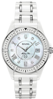Bulova Marine Star Collection Ceramic Stainless Steel Link Bracelet Watch