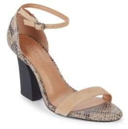 Halston Mandi Embossed Leather Ankle Strap Sandals