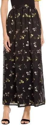 St. John Organza Cloqué Floral Pleated Skirt