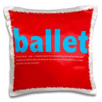 3dRose Ballet definition in red and blue - Pillow Case, 16 by 16-inch