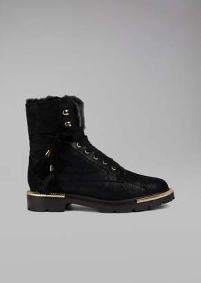 Giorgio Armani Waxed Shearling Combat Boots With Pleated Metal Details