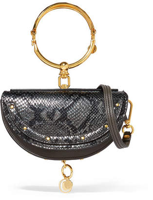 Chloé Nile Bracelet Mini Snake-effect Leather Shoulder Bag - Anthracite