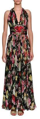 Dolce & Gabbana Halter-Neck Floral-Print Chiffon Evening Gown w/ Heart Patch