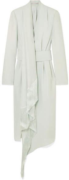 Ralph & Russo - Fringed Wrap-effect Silk-crepe Midi Dress - Mint