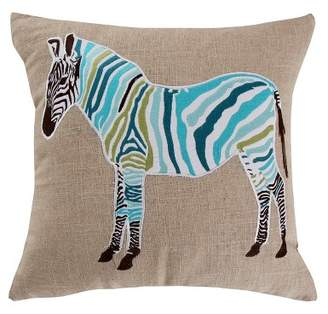 Mudhut 20x20 Monika Zebra Burplap Pillow Teal