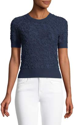 Michael Kors Cropped Short-Sleeve Jacquard Sweater