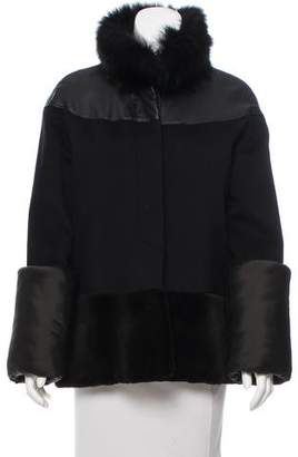 Isaac Mizrahi Fur-Trimmed Button-Up Jacket