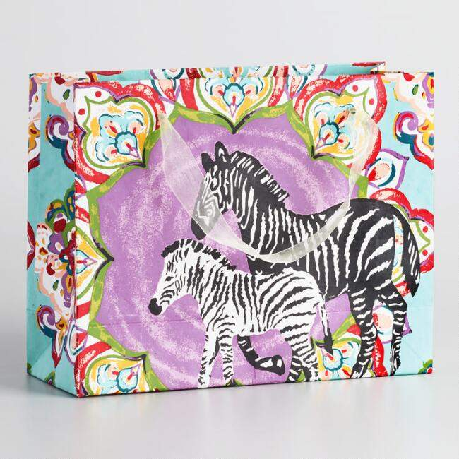 Large Zebra Handmade Paper Gift Bags Set of 2