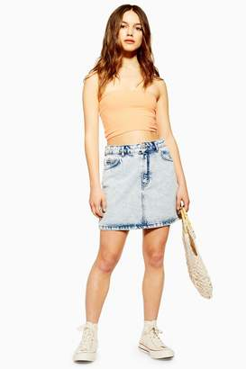 Topshop PETITE Acid Wash Denim Mini Skirt