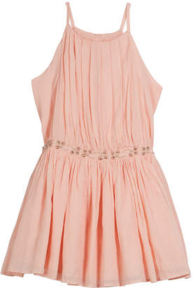 Velveteen Andrea Pleated Party Dress w\/ Embellished Waist Size 8-12