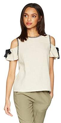 1a6648dbd99b8 Moon River Women s Blanket Stitch Cold Shoulder Soft Top with Bow Detail
