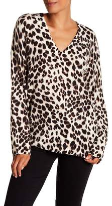 Equipment Lucinda V-Neck Leopard Print Wool Blend Sweater