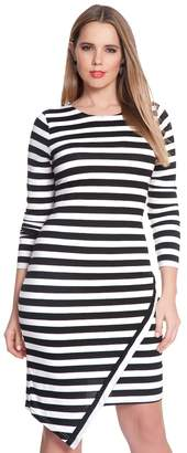 Asymmetrical Hem Striped Dress