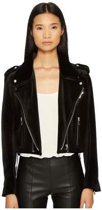 The Kooples Velvet Biker Jacket with Upturned Collar Women's Coat