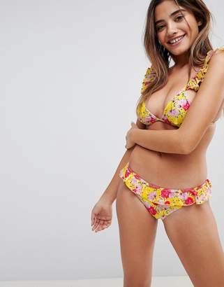 Playful Promises Frill Floral Bikini Bottoms