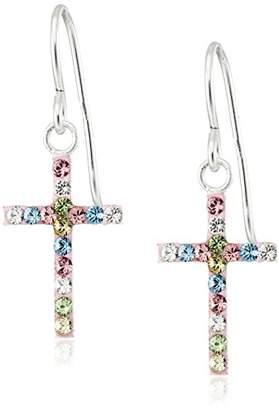Hallmark Jewelry Girls Sterling Rainbow Crystal Cross Drop Earrings