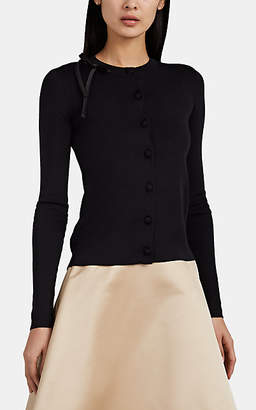 Prada Women's Silk Crewneck Cardigan - Black