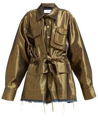 Marques Almeida Marques'almeida - Belted Metallic Denim Jacket - Womens - Gold