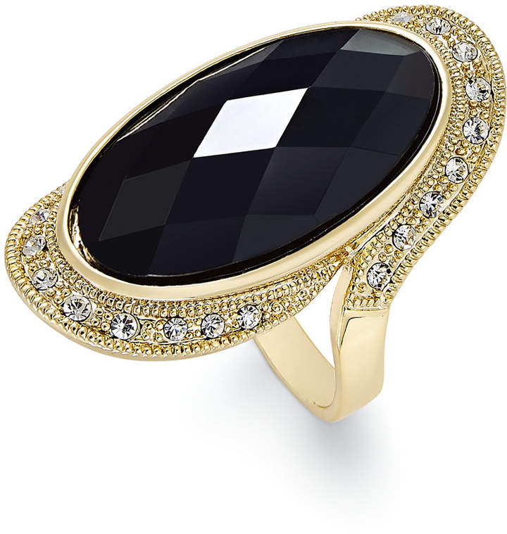 INC International Concepts I.N.C. Gold-Tone Large Jet Stone and Pavé Statement Ring, Created for Macy's