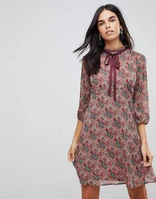 Traffic People Printed Tea Dress With Bow Detail