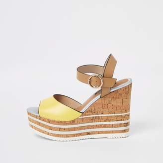 6371c8c8a River Island Womens Yellow cork platform wedges