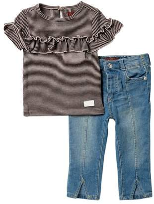 7 For All Mankind Striped Ruffle Top & Jeans (Baby Girls)