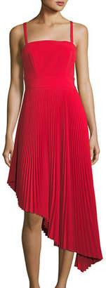Milly Eliza Italian Cady Pleated Asymmetric Dress