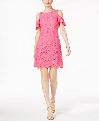Jessica Howard Eyelet Cold-Shoulder Dress $79 thestylecure.com