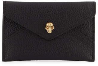 Alexander McQueen Skull Grain Leather Envelope Card Case