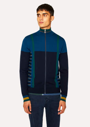Paul Smith Men's Cobalt Blue Geometric Stripe Zip-Through Funnel-Neck Wool Cardigan