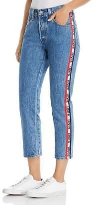 Levi's 501 Logo-Stripe Crop Straight Jeans in Spectator Sport