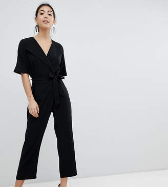Asos DESIGN Petite wrap jumpsuit with self belt