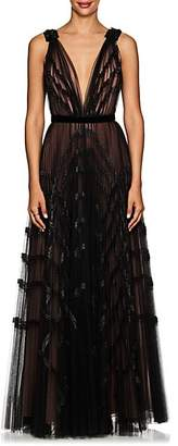 J. Mendel Women's Embellished Pleated Tulle Gown - Black