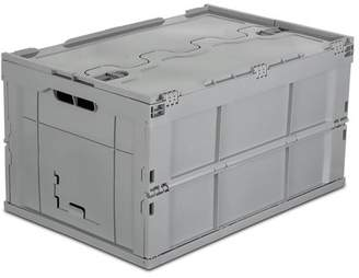 Mount-it Mount-It! Plastic Storage Crate, Collapsible Storage Box Container with Attached Lid, 65L Liter Capacity